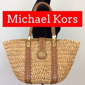 Michael Kors Santorini Banana Leaf Woven Tote Bag